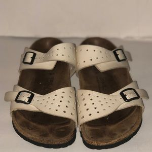 Birkenstock's off white sandals